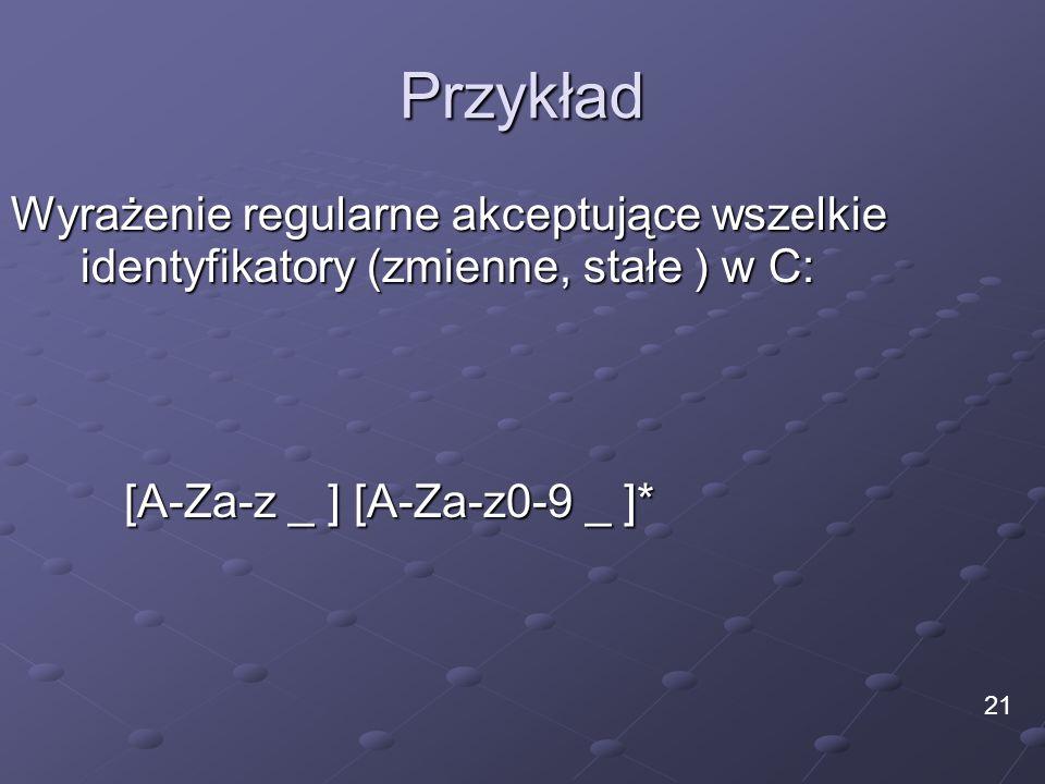Przykład Wyrażenie regularne akceptujące wszelkie identyfikatory (zmienne, stałe ) w C: [A-Za-z _ ] [A-Za-z0-9 _ ]*